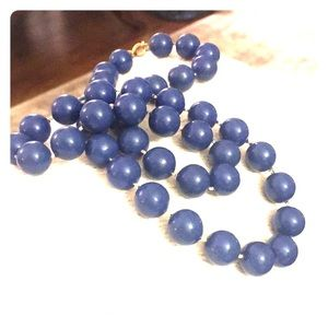 Hand knitted early lucite navy bead necklace